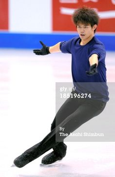 DETROIT, MI - OCTOBER 17: (CHINA OUT, SOUTH KOREA OUT) Takahiko Kozuka of Japan performs during a practice session ahead of the Skate America at Joe Louis Arena on October 17, 2013 in Detroit, Michigan. (Photo by The Asahi Shimbun via Getty Images)