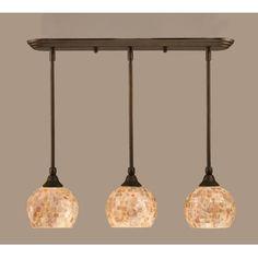 Toltec Seashell island pendant in bronze - kitchen island lighting.