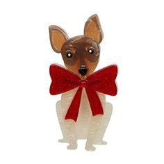 This foxy fella is not afraid of drawing attention. Surely you've noticed the size of the conversation bow he is sporting! Animal Jewelry, New Pins, Dog Cat, Teddy Bear, Kitty, Bows, Christmas Ornaments, Retro, Holiday Decor