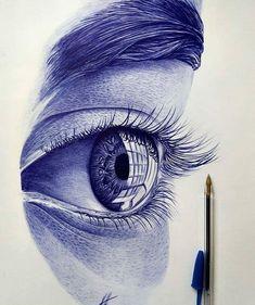 Beautiful eye drawing done with ballpoint pen - interestingasfuck Black Pen Sketches, Black Pen Drawing, Art Drawings Sketches Simple, Pencil Art Drawings, Realistic Drawings, Biro Drawing Sketches, Amazing Pencil Drawings, Drawing Eyes, Biro Art