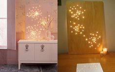 Create constellation art with string lights and a canvas. | 29 Impossibly Creative Ways To Completely Transform Your Walls