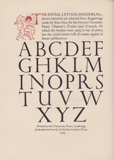 Eric Gill - initial letters for the Golden Cockerel Press, 1929