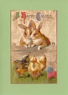 "Reproduced vintage postcards dating back to displaying quaint phrases or illustrations appropriate for a handful of special events: Card reads ""A Happy Easter"" - Custom textured paper - Embossed"