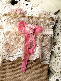 Pink Bow Burlap Bag