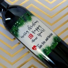 Holiday Wine Label, Personalized Christmas Label, Christmas Gift, Christmas Wine Label, Holiday Label, Custom Wine Label, Wine, Christmas by WineGreeting on Etsy