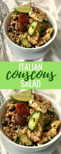 This vegan Italian Couscous Salad is the perfect, easy side dish or light, weight loss dinner. If you love Italian flavors, that is. | The Green Loot #vegan