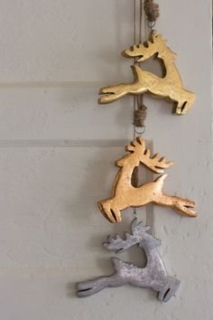 Kalalou Wooden Jumping Deer Christmas Ornaments - Set Of 6 - These oversized jumping deer ornaments will spice up your Holiday wreath, or add them to your tree for a little more sparkle. Reminiscent of a vintage cookie cutter, these ornaments will add a statement to any Holiday collection. - Kalalou Wooden Jumping Deer Christmas Ornaments - Set Of 6 (2 of each color)