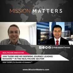 Jani Tuomi, Co-founder of imaware™, was interviewed on the Mission Matters Innovation Podcast by Adam Torres. In this insightful interview, Jani Tuomi, Co-Founder of imaware™, walks us through his journey into the healthcare sector and discusses the importance of self-care. Emphasizing the need for health awareness, he also talks about the growing field of self-testing and medical analysis to prevent future ailments. Small Town America, Co Founder, Self Care, Walks, Health Care, Innovation, Interview, Journey, Medical