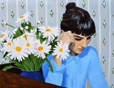 """Bridgette McNab Self portrait with Daisies 18"""" x 24"""" oil on linen 2013  Doug Moran National Portrait Prize Finalist Work  Home Subscribe to: Posts (Atom)"""