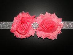 Adorable baby girl headband- Rhinestone Headband- Pink Headband  Glitter Baby Headband Newborn by BabyliciousDivas, $6.75