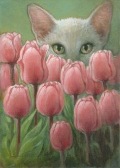 """""""Behind the Tulips"""" (Oriental cat & tulip blossoms) by Lynn Bonnette, February 2010"""