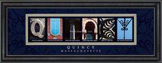 Quincy, MA. Framed Letter Art