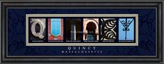 Quincy, MA. Framed Letter Art