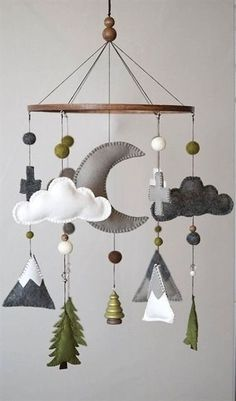 Woodland Nursery / Felt Mobile / Mountain Nursery / Felt Moon / Woodland Mobile / Nursery Decor / Cross / Monochrome / Scandinavian Decor - Decor Home Baby Bedroom, Baby Boy Rooms, Baby Boy Nurseries, Nursery Room, Baby Boy Themes, Arrow Nursery, Nursery Decor Boy, Girl Nursery, Baby Theme
