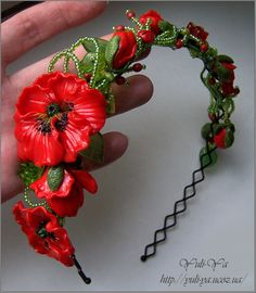 Polymer clay flower headband.
