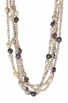 collier de perle en blanc beige azur rose et gris