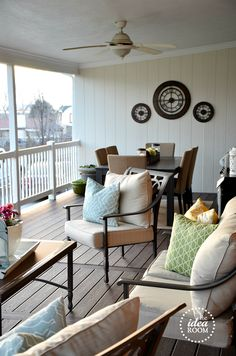 covered deck outdoor area - dining area & seating area.