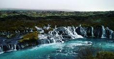 Stunning waterfalls. Hraunfossar. Iceland is simply breathtaking. #iceland #waterfalls #beautiful #nature #photograph #view