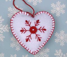 Felt Christmas Ornament Handmade heart ornament by PuffinPatchwork
