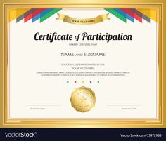 Certificate Of Participation Template With Gold with regard to Free Templates For Certificates Of Participation - Best Professional Templates Certificate Of Participation Template, Certificate Of Completion Template, Free Printable Certificates, Blank Certificate, Gift Certificate Template, Certificate Background, Receipt Template, Best Templates, Templates Printable Free