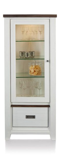 Velasco glass cupboard with LED lighting. The drawer is brown on the other side, so just turn it around for a completely different looks in your living room.