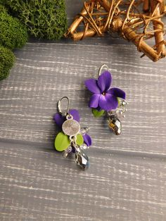 Violet drop earrings Flower jewelry Unique earrings Silver Polymer clay jewelry Deep Purple Crystal earring Woodland Natural jewelry Gift Length of earrings 1.7 inches \ 4.3 cm Width 0.66 inches \ 1.7 cm I don*t use molds. All details are handmade by me with love. Please note that