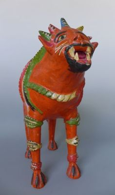 HUMONGOUS XL vintage Mexican ceramic lion nagual by CANDELARIO MEDRANO 18 tall