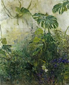 Anna-Maria Tsakali (Greek, born Green rain, N/D Oil on canvas Purple Plants, Green Plants, Plant Painting, Light Painting, Yellow Roses, Red Flowers, Anna, Mixed Media Sculpture, Pansies