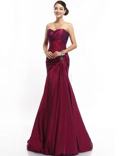 ❀ Bateau Burgundy Natural Taffeta Column Evening Dresses | Riccol ❤