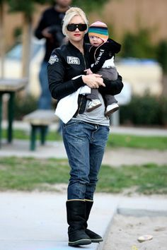 Gwen with her child.