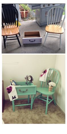 A small cute end table made of an old drawer  4 legs of a broken chairs. Old chair got a new coat. Love the green.
