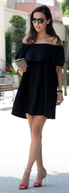#summer #stylish #outfits | Off The Shoulder LBD                                                                             Source