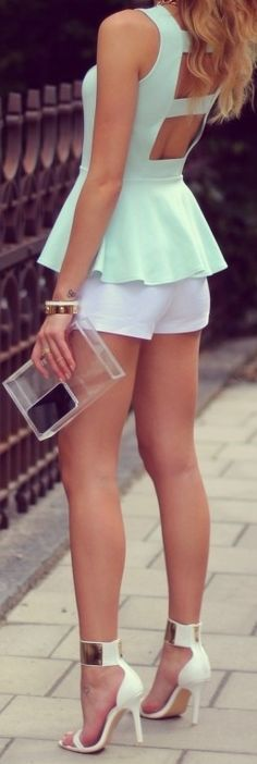 mint cutout back peplum top/ white shorts/ white heels with gold accents
