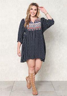 Plus Size Multi Print Babydoll Dress