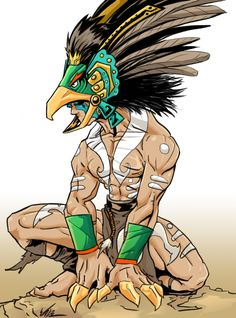I hit up refrences and such on Mayan culture and t. Nacon: The Mayan Warrior Fantasy Comics, Anime Fantasy, Fantasy Art, Aztec Mask, National Geographic, Digital Art Anime, Bird Masks, Aztec Warrior, Mesoamerican