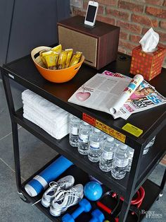 Keep all the tools you need to break a sweat in one place. Store workout essentials like yoga mats, free weights, and bottled water on a tiered cart./