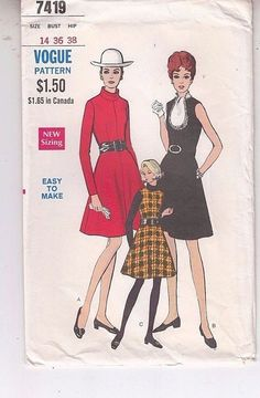 Vogue 7419 Fit Flare Dress Jumper 1960s Sewing Pattern  Sz 14 Uncut  #Vogue #fitflaredress