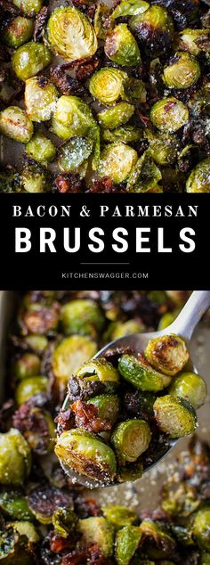 Delicious and easy bacon brussel sprouts sautéed with garlic, olive oil, salt, pepper, and grated parmesan cheese. # Roasted Brussel Sprouts with Bacon & Parmesan Cheese Vegetable Dishes, Vegetable Recipes, Healthy Recipes, Cooking Recipes, Easy Bacon Recipes, Meals With Bacon, Recipes With Bacon Dinner, Recipes With Parmesan Cheese, Cooking Kale