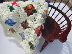 Doll Bed Quilt Crochet Baby Doll Afghan  by crochetedbycharlene