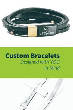 Engraved bracelets for men, women and kids! Custom bracelets in silver, gold, and leather! Add your custom message today! Mens Engraved Bracelets, Engraved Jewelry, Engraved Necklace, Bracelets For Men, Meaningful Jewelry, Personalized Charms, Romantic Gifts, Custom Engraving, Bracelet Designs