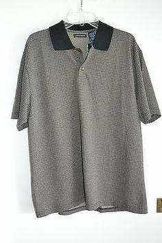 New Knightsbridge Polo Shirt Large Cotton Poly Blend Black and Tan | eBay