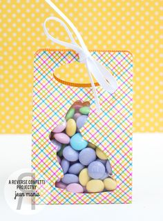 Project by Jean Manis. Reverse Confetti: Easter Treat Packaging Ideas with Confetti Cuts (More Than Jellybeans and Tagged Tote. Easter bunny. Easter favor.