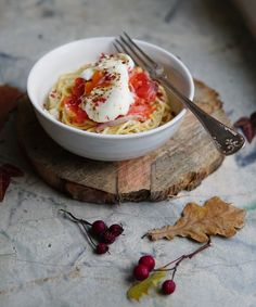 Cold smoked salmon and poached egg pasta