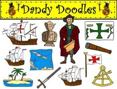 Christopher Columbus Clip Art: 24 PNG Images (12 color and 12 bw) $