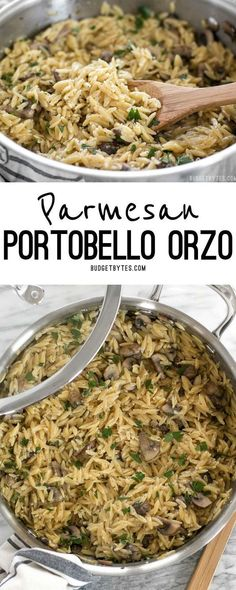 This super simple and flavorful Parmesan Portobello Orzo will become your next goto side dish Ready in 30 minutes it pairs with chicken beef or pork Orzo Recipes, Side Dish Recipes, Cooking Recipes, Healthy Recipes, Delicious Recipes, Vegetable Recipes, Healthy Meals, Shrimp Recipes, Recipes Dinner