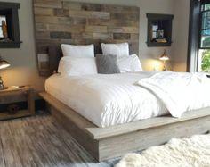 christine modern sleek low platform solid wood bed by thelakenest - Diy Kingsizekopfteil Plne