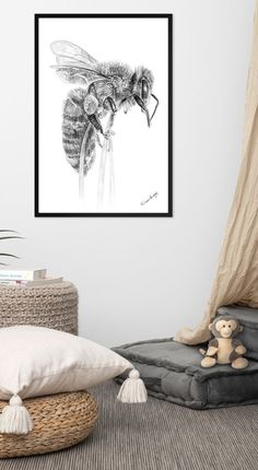Bee Art, Bee Happy, Esty, Etsy Crafts, Nursery Wall Art, Fall Crafts, Printable Wall Art, Interior Inspiration, Fall Decor
