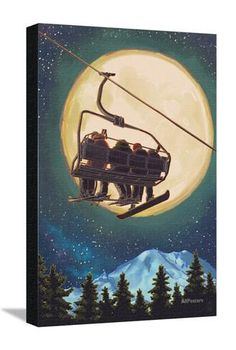 Ski Lift and Full Moon with Snowboarder Posters by Lantern Press - AllPosters.co.uk