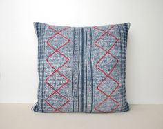 Your place to buy and sell all things handmade Chinese Fabric, Navy Color, Vintage Textiles, Indigo, Throw Pillows, Pattern, Prints, Etsy, Toss Pillows
