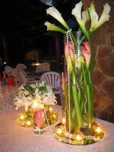 Tropical destination reception flowers